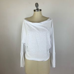 Free People Slouchy White Long Sleeve Top